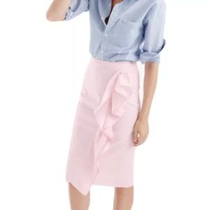 J. Crew | Seersucker Ruffle Poplin Pencil Skirt